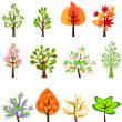 Set of different beautiful trees — Stock Vector