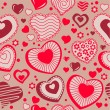 Seamless pattern with red contour hearts — Stock Vector #5695425
