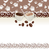 Greeting card with cups of coffee — Stock Vector