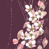 Blossomig ramos em fundo escuro — Vetorial Stock