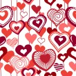 Seamless pattern with red contour hearts - Stockvektor
