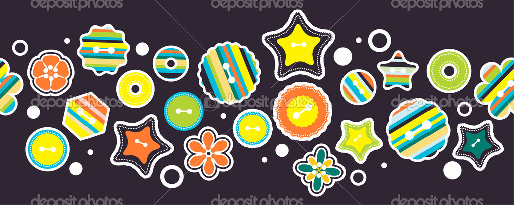 Seamless horizontal border with stylized stars and circles  — Imagens vectoriais em stock #6593667