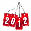 2012 on hanging labels - Stock Vector