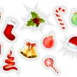 Stock Vector: Collection of different christmas stickers