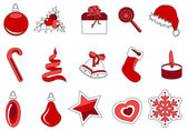 Collection of different christmas icons — Stock Vector
