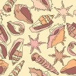 Royalty-Free Stock Векторное изображение: Seamless pattern with different shells
