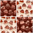 Seamless pattern with different chocolate sweets. — Stock Vector