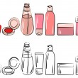 Set with various cosmetics - Stock Vector