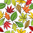 Seamless background with autumn leaves — Stock Vector