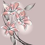 Pastel achtergrond met gestileerde lelies — Stockvector