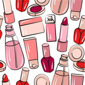 Seamless pattern with various cosmetics — Stock Vector