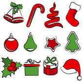 Set of simple Christmas icons — Stock Vector