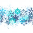 Seamless blue border with snowflakes — 图库矢量图片