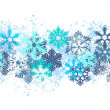 Stock Vector: Seamless blue border with snowflakes
