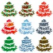 Collection of different Christmas trees — Stock Vector
