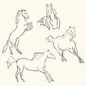 Horses line art — Stock Vector