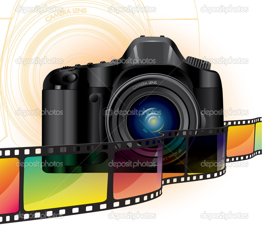 Professional camera and color film — Stock Vector #5635208
