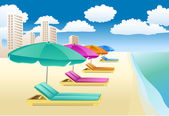 Krzesła z unbrellas na plaży — Wektor stockowy