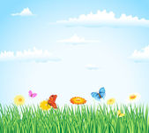 çimen çiçekler ve kelebekler — Stok Vektör