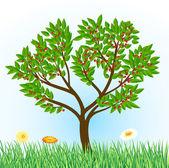 árvore de cereja com grama e flores — Vetorial Stock