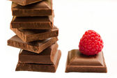 Raspberry with chocolate — Stock Photo