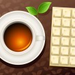 Tea and chocolate - Imagens vectoriais em stock