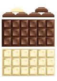 White and dark chocolate bar — Stock Vector