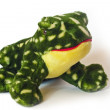 Green frog toy on white — Stock Photo