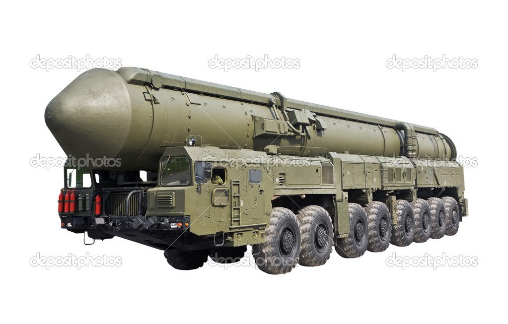 Intercontinental ballistic missile Topol-M is isolated on a white background  Stock Photo #5754805