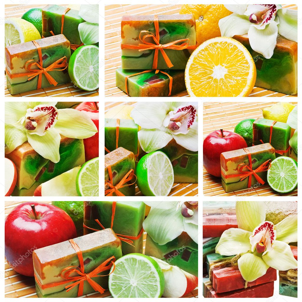 Collage of fruit and natural handmade soap   — Stock Photo #5833580