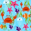 Sea life seamless pattern — Stok Vektör