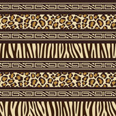 African style seamless pattern with wild animals skins — Stock Vector