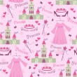 Seamless story princess elements pattern - Stock Vector