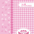 Invitation card with princess crown and shoes. — ストックベクタ