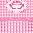 Invitation card with princess crown and shoes - Stock Vector