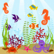 Sea life card - Stock Vector