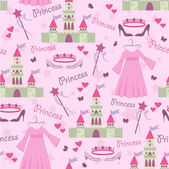 Seamless story princess elements pattern — Stock Vector