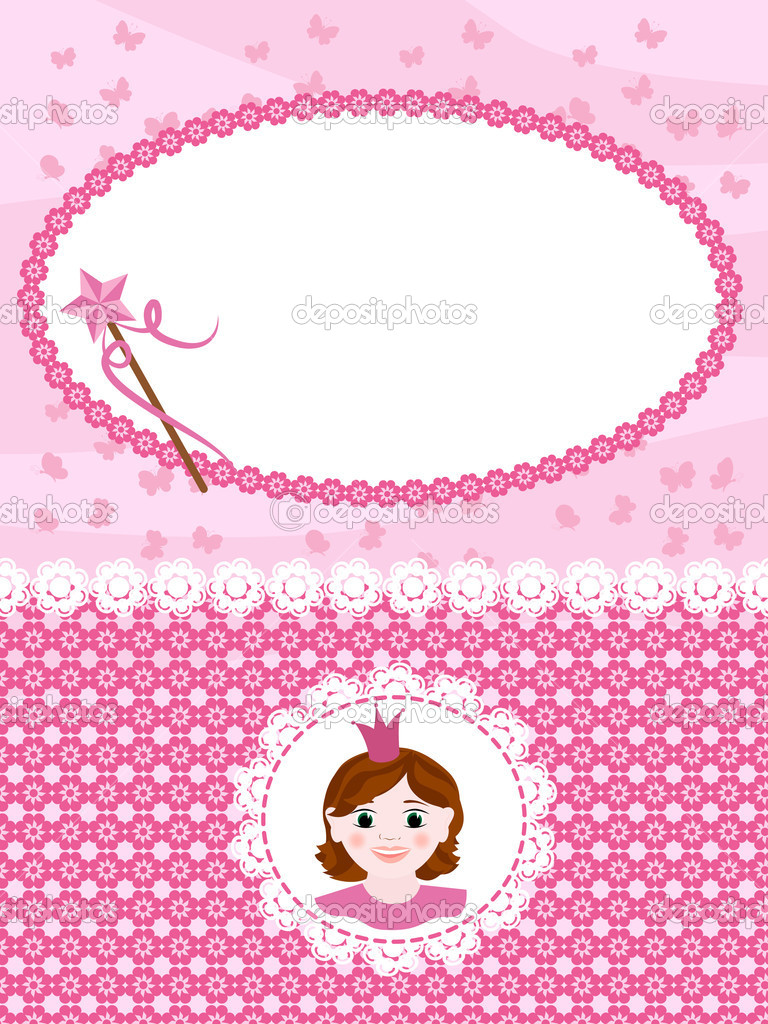 Invitation card with princess and wand. — Stock Vector #5582092