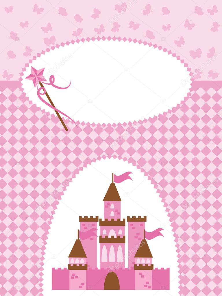 Princess card with Magic Castle  Stock Vector #5582102
