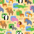 Funny African animals seamless background — Stock Vector