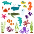 Stock Vector: Set of seanimals