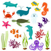 Set of sea animals — Stock vektor