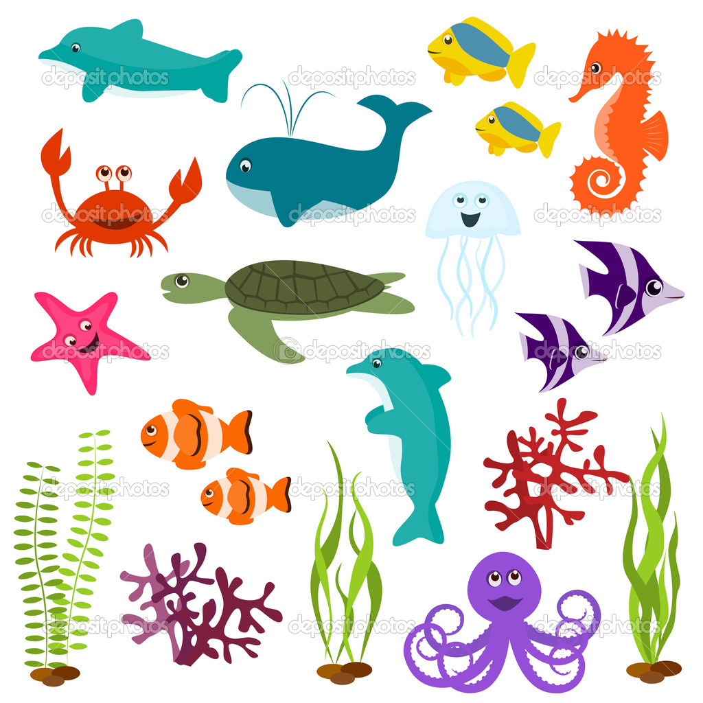 Set of sea animals  Stok Vektr #5636637