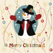 Royalty-Free Stock Vector Image: Christmas and New Years greeting card with snowman
