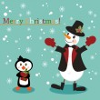 Christmas and New Years greeting card with snowman and penguin — Stock Vector #5702224