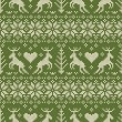 Folk style seamless pattern with deer ornament - Stock Vector