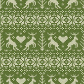Folk style seamless pattern with deer ornament — ストックベクタ