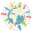 Happy Christmas personage and planet Earth - Stock Vector