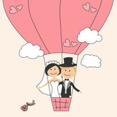 Wedding invitation with funny bride and groom on air balloon — Vector de stock