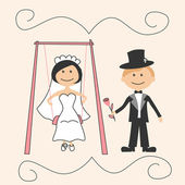 Wedding invitation with funny groom and bride on swing — Stock Vector